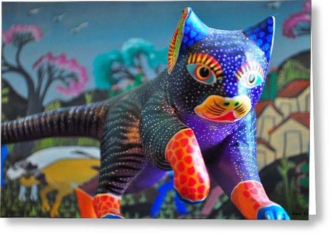 Wood Carving Ceramics Greeting Cards - Stalking Oaxaca Cat  Greeting Card by Dan Terry