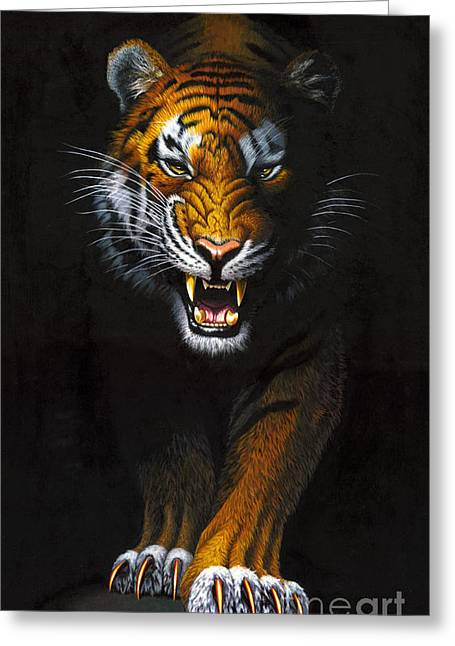 Tiger Illustration Greeting Cards - Stalking Tiger Greeting Card by MGL Studio - Chris Hiett