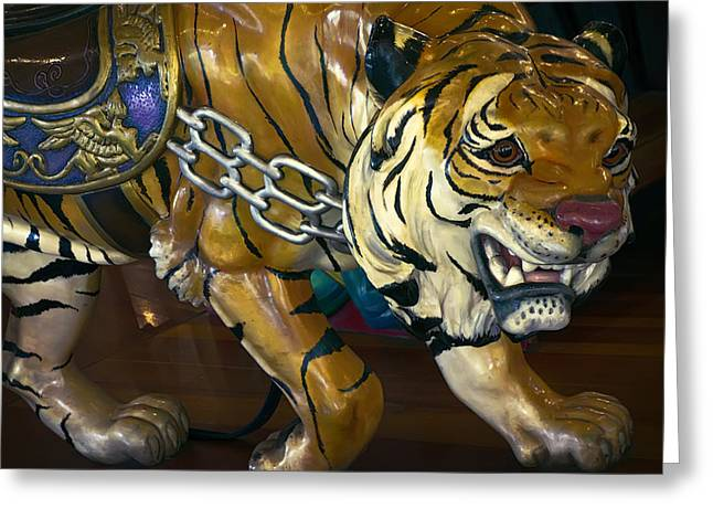 Stripe.paint Greeting Cards - STALKING TIGER of LOOFF CAROUSEL  1909 Greeting Card by Daniel Hagerman