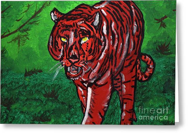 Canvas Framing Paintings Greeting Cards - Stalking Tiger Greeting Card by Robert Garris