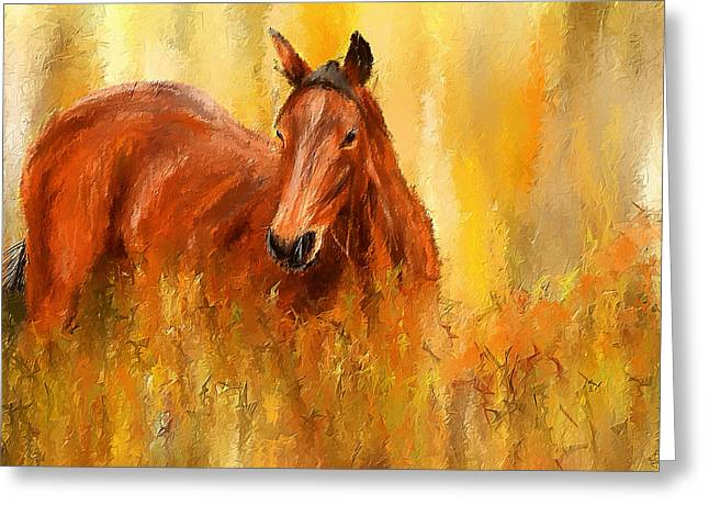 Wild Horse Greeting Cards - Stallion in Autumn - Bay Horse Paintings Greeting Card by Lourry Legarde
