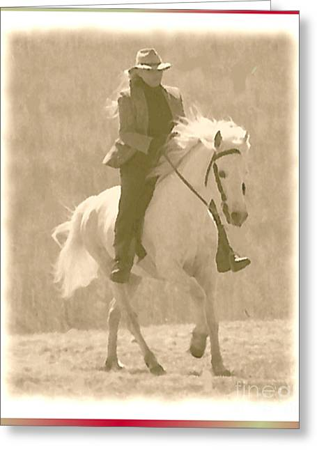 White Stallion With Rider Greeting Cards - Stallion Strides Greeting Card by Patricia Keller