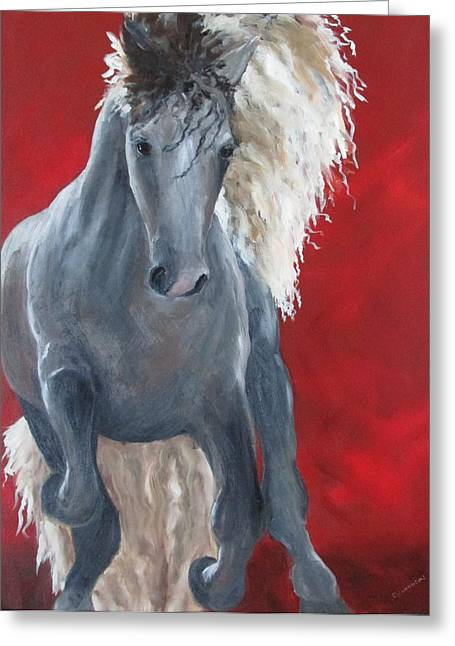 Equestrian Commissions Greeting Cards - Stallion Greeting Card by Susan Richardson
