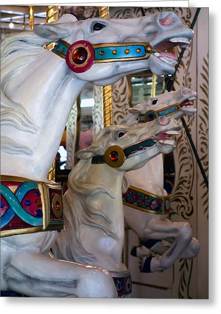 Race Horse Greeting Cards - STALLIONS of LOOFF CAROUSEL 1909 Greeting Card by Daniel Hagerman