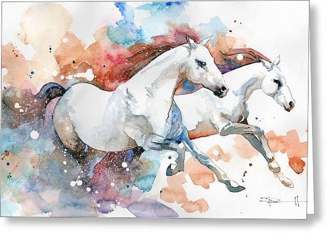 Sean Horse Greeting Cards - Stallions Greeting Card by Sean Parnell