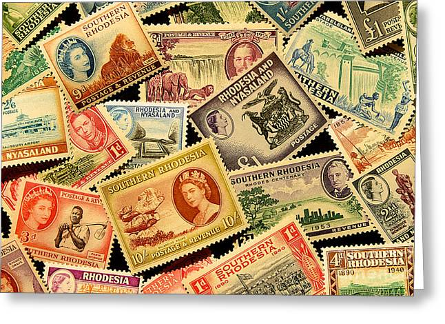 Zimbabwe Greeting Cards - Stamp Collage Southern Rhodesia and Rhodesia and Nyasaland Greeting Card by Outpost Imagery