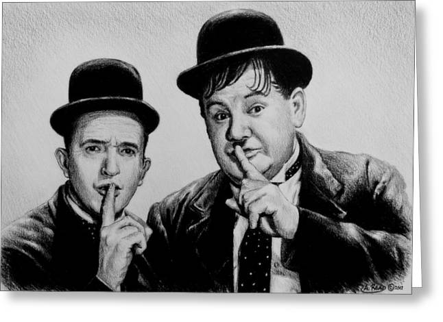 Hand Drawn Drawings Greeting Cards - Stan and Ollie Greeting Card by Andrew Read
