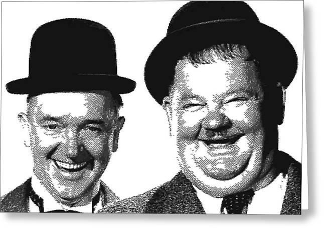 Ollie Greeting Cards - Stan and Ollie - Parallel Hatching Greeting Card by Samuel Majcen