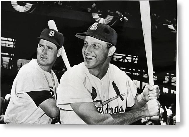 Stan Musial Greeting Cards - STAN MUSIAL and TED WILLIAMS Greeting Card by Daniel Hagerman