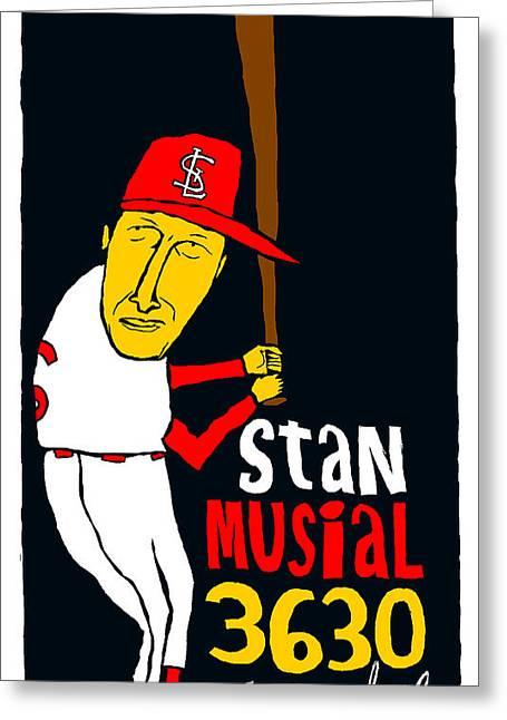St Louis Cardinals Mixed Media Greeting Cards - Stan Musial St Louis Cardinals Greeting Card by Jay Perkins