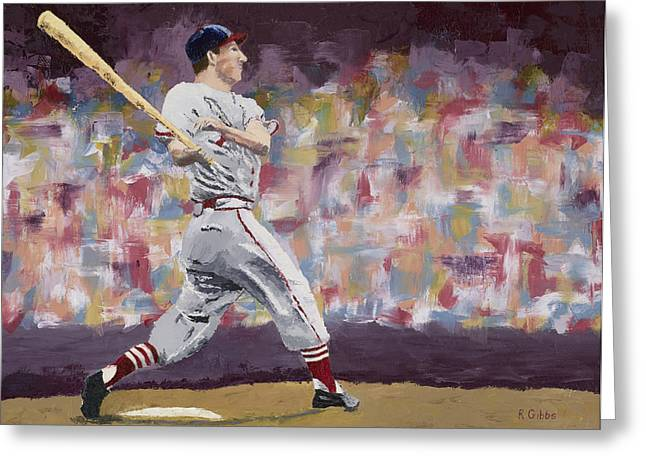 Batter Paintings Greeting Cards - Stan the Man Greeting Card by Ron Gibbs