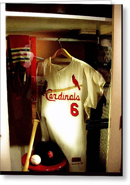Baseball Art Photographs Greeting Cards - Stan The Mans Locker Stan Musial Greeting Card by Iconic Images Art Gallery David Pucciarelli