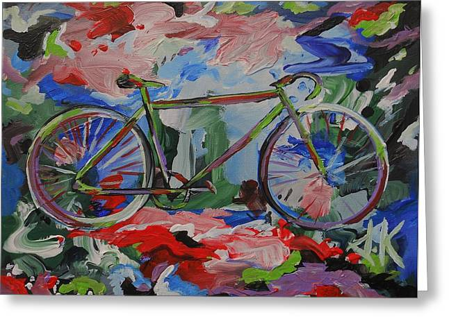 Spokes Drawings Greeting Cards - Stand Alone Bike Greeting Card by David Keenan