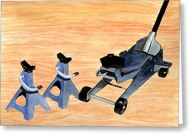 Head Stand Paintings Greeting Cards - Stand and the Jacks Greeting Card by Perry Woodfin