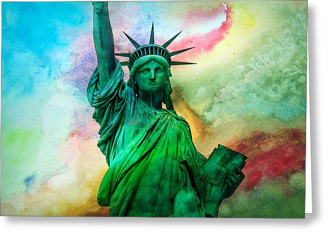 Statue Of Liberty Greeting Cards - Stand Up For Your Dreams Greeting Card by Az Jackson