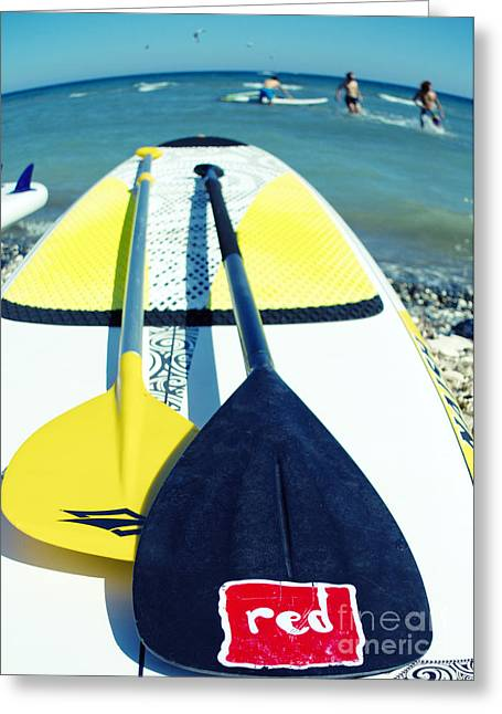 Action Sports Portrait Greeting Cards - Stand Up Paddle Board Greeting Card by Stylianos Kleanthous