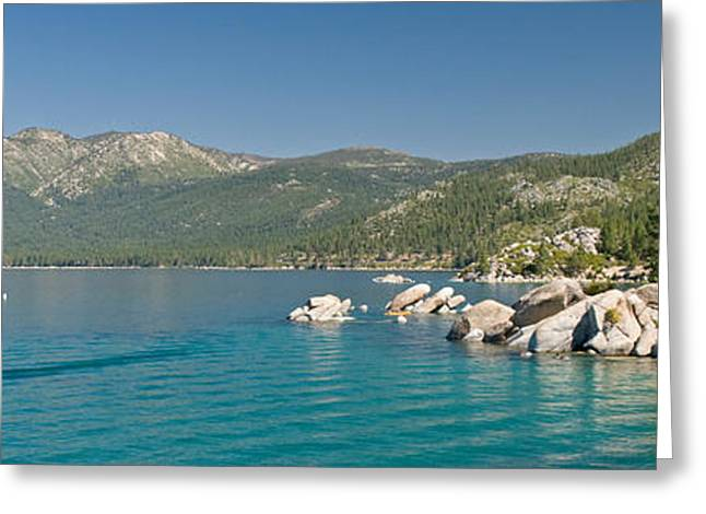 Sand Harbor Greeting Cards - Stand-up Paddle-boarders Near Sand Greeting Card by Panoramic Images