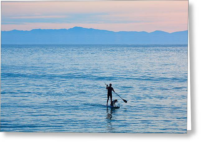 Surf Silhouette Digital Art Greeting Cards - Stand Up Paddle Surfing in Santa Barbara Bay California Greeting Card by Ram Vasudev