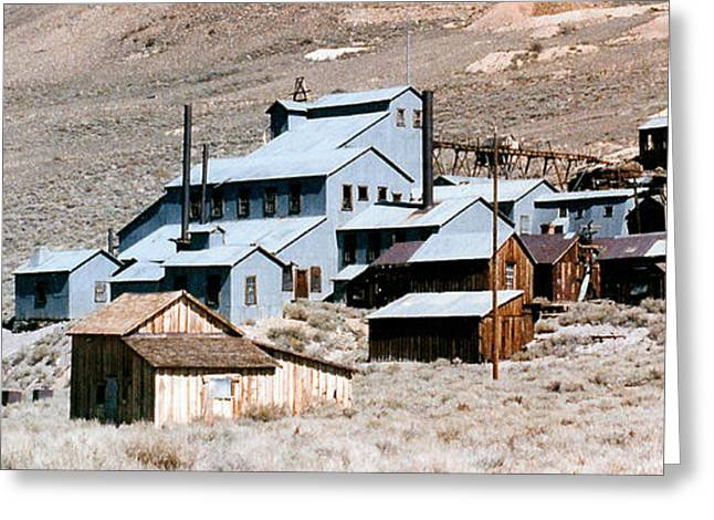 Old Town Digital Art Greeting Cards - Standard Mill At Bodie Panorama Greeting Card by Barbara Snyder