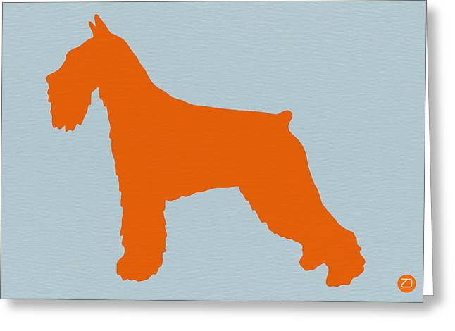 Cute Schnauzer Greeting Cards - Standard Schnauzer Orange Greeting Card by Naxart Studio