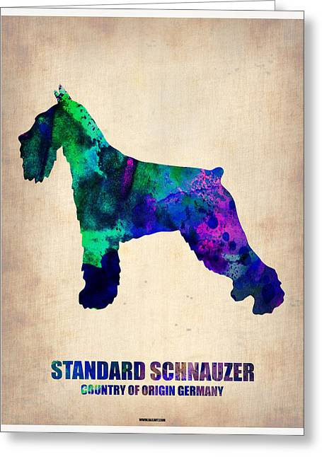 Cute Schnauzer Greeting Cards - Standard Schnauzer Poster Greeting Card by Naxart Studio