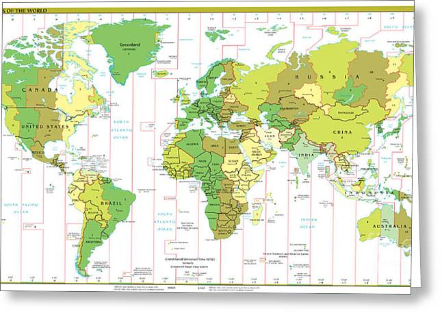Country Schools Mixed Media Greeting Cards - Standard Time Zones of the World Greeting Card by Pg Reproductions