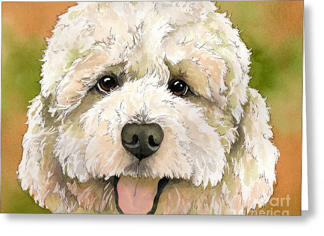 Pen And Ink Portraits Greeting Cards - Standard white Poodle dog watercolor Greeting Card by Cherilynn Wood