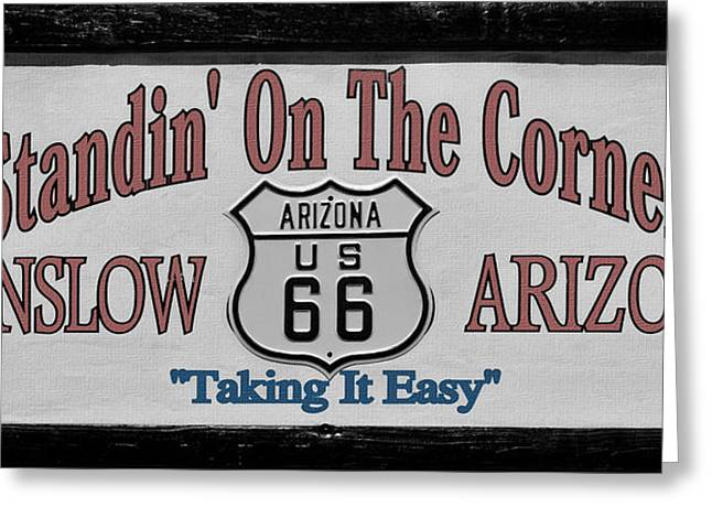 Roads Greeting Cards - Standin on a corner in Winslow Arizona Greeting Card by Christine Till