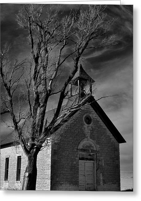 Abandoned School House. Greeting Cards - Standing Alone Greeting Card by Crystal Socha