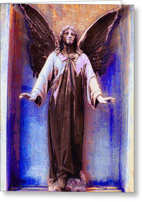 Bible Mixed Media Greeting Cards - Standing Angel Greeting Card by Tony Rubino