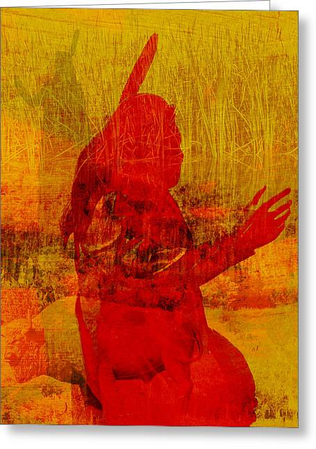 Standing Bear Park Abstract Collage Greeting Card by Ann Powell