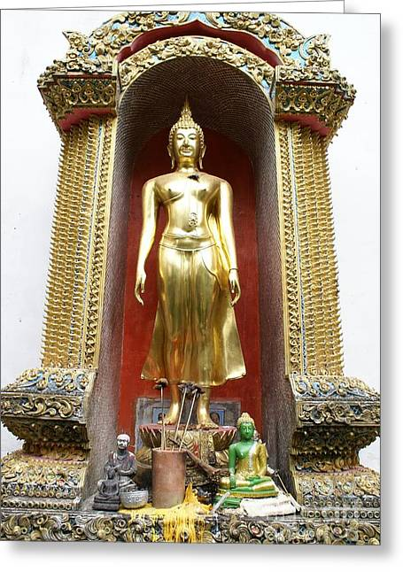 Candle Stand Greeting Cards - Standing Buddha Greeting Card by Gregory Smith