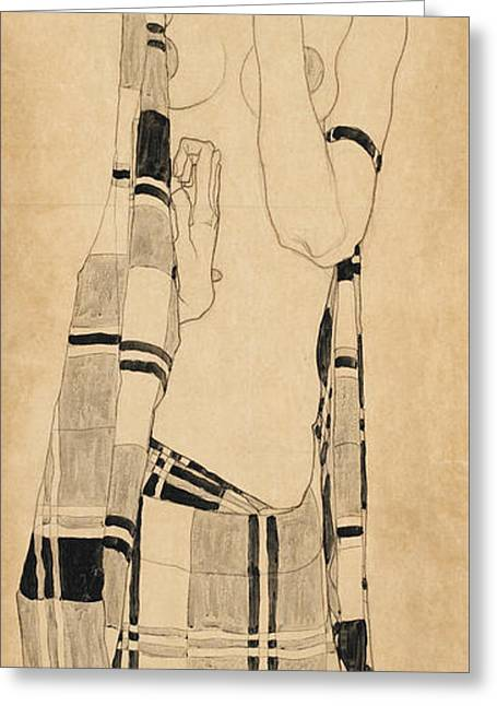 Schiele Drawings Greeting Cards - Standing Girl Greeting Card by Egon Schiele
