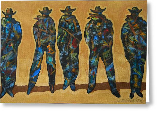 American Cowboy Gallery Greeting Cards - Standing In The Shadow Greeting Card by Lance Headlee