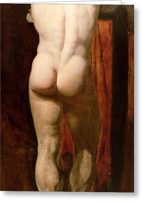 Buttock Greeting Cards - Standing Male Nude Greeting Card by William Etty