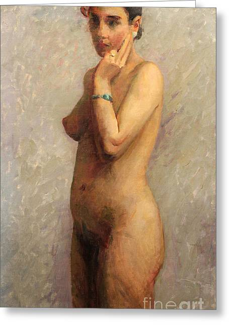 Chin On Hand Paintings Greeting Cards - Standing Nude 1929 Greeting Card by Art By Tolpo Collection