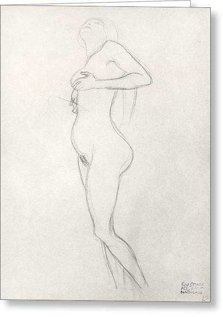 Erotica Greeting Cards - Standing Nude Girl Looking Up Greeting Card by Gustav Klimt