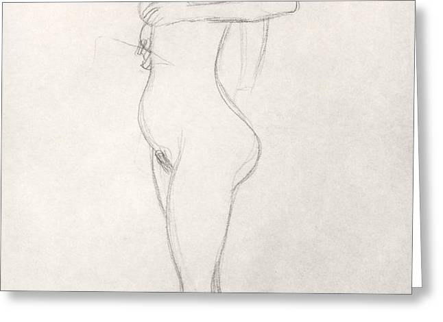 Standing Nude Girl Looking Up Greeting Card by Gustav Klimt