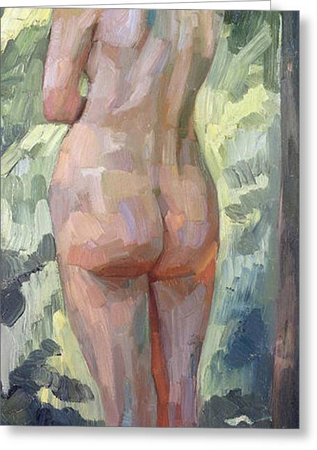 Female Body Greeting Cards - Standing Nude Greeting Card by Heinrich Wilhelm Truebner