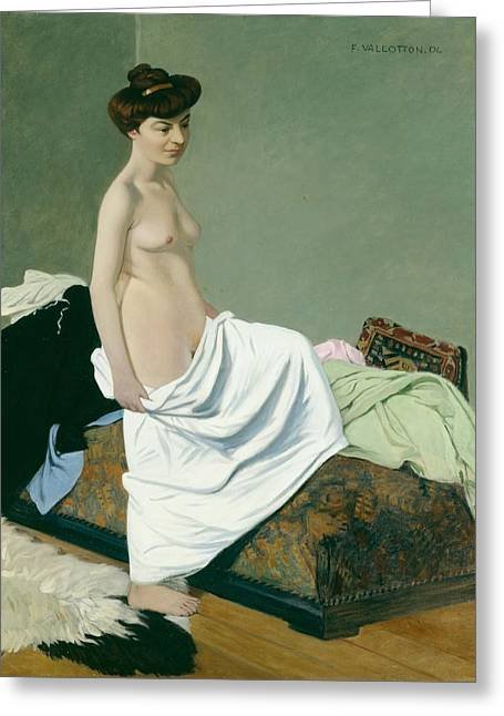 Standing Nude Holding A Gown On Her Knee Greeting Card by Felix Edouard Vallotton