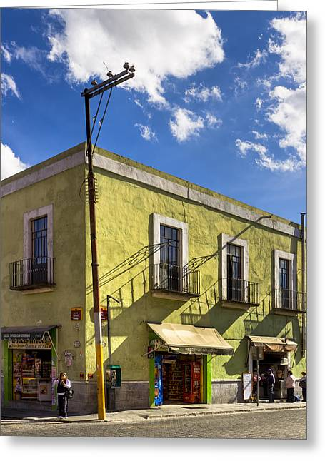 Puebla Greeting Cards - Standing on a Street Corner in Puebla Greeting Card by Mark Tisdale