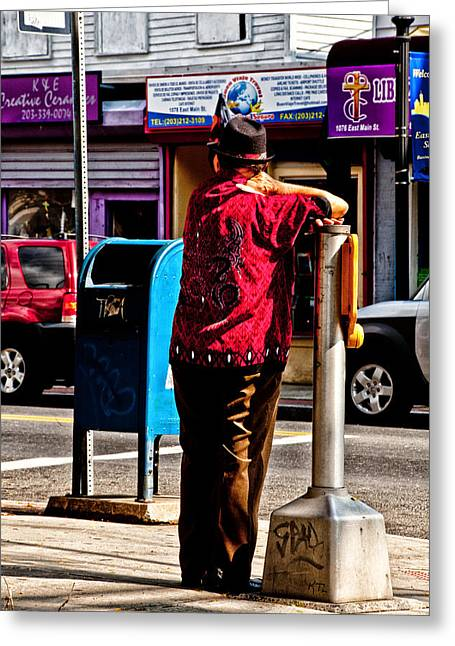 In The Corner Greeting Cards - Standing On The Corner Greeting Card by Karol  Livote