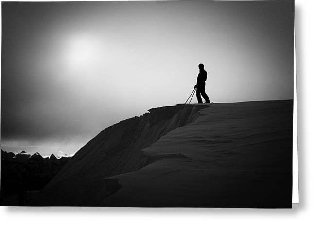 Snow Cornice Greeting Cards - Standing on the Precipice Greeting Card by Sean Phillips