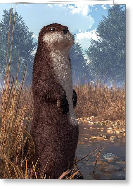 Aquatic Themed Greeting Cards - Standing Otter Greeting Card by Daniel Eskridge
