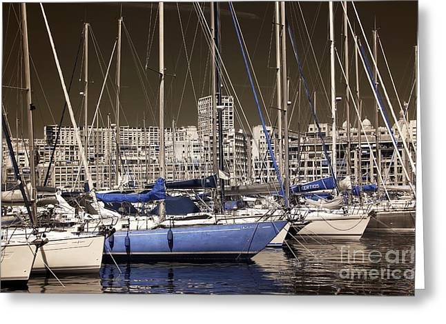 Blue Sailboat Greeting Cards - Standing Out in Marseille Greeting Card by John Rizzuto