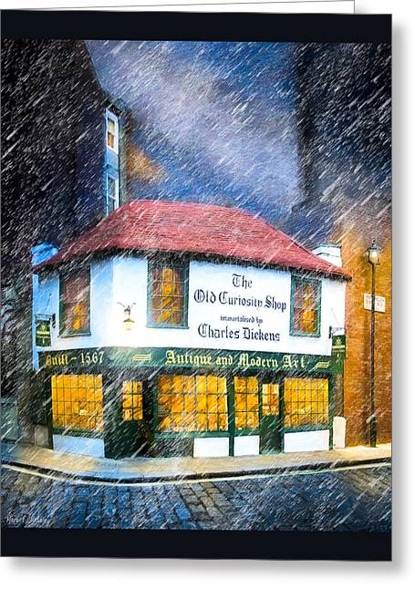 Medieval Buildings Greeting Cards - Standing Outside The Old Curiosity Shop Greeting Card by Mark E Tisdale