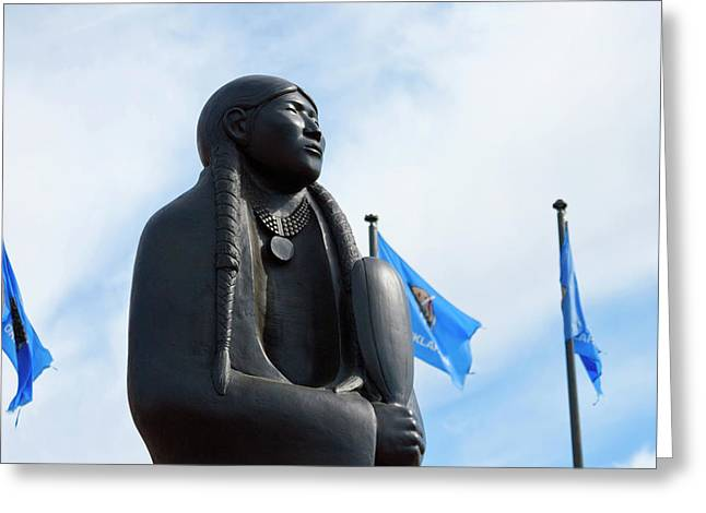 Native American Sculptures Photographs Greeting Cards - Standing proud  Greeting Card by Toni Hopper