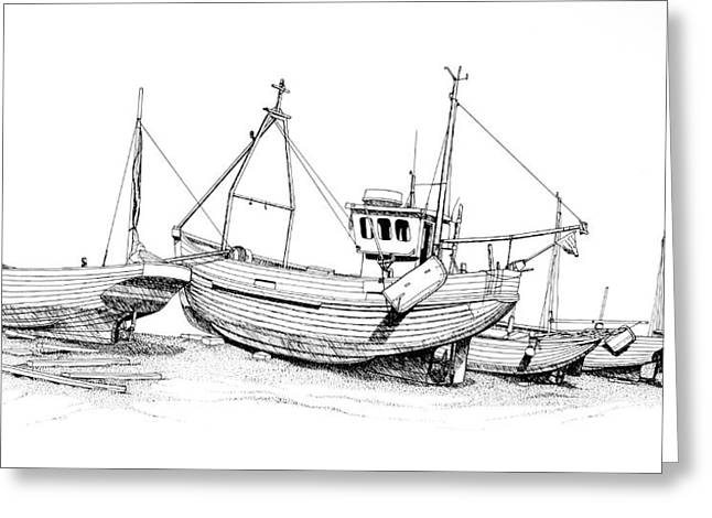 Fishing Boats Drawings Greeting Cards - Standing Ready Greeting Card by Douglas J Fisher