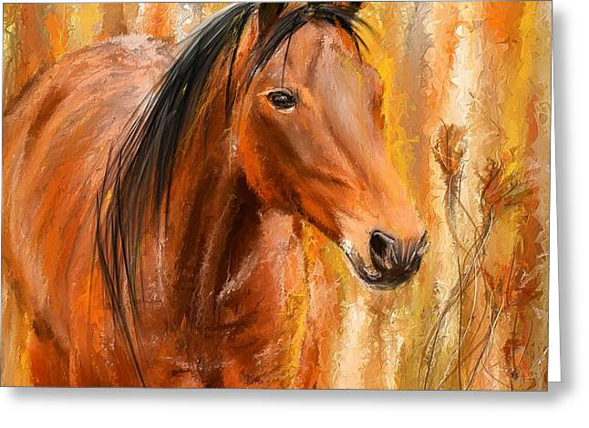 Wild Horse Greeting Cards - Standing Regally- Bay Horse Paintings Greeting Card by Lourry Legarde