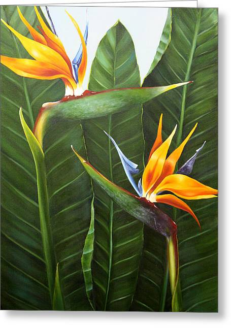 Strelitzia Paintings Greeting Cards - Standing Room Only Greeting Card by Lorraine Ulen